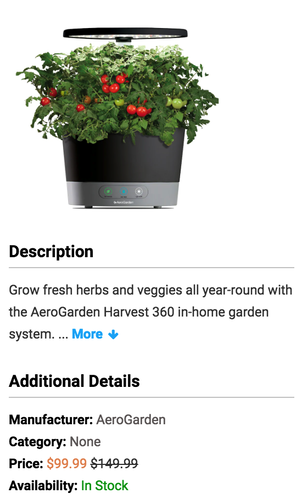 AeroGarden Harvest 360 with Gourmet Herb Seed Pod Kit, Black